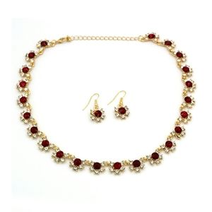 Classic gold red crystal necklace earrings set